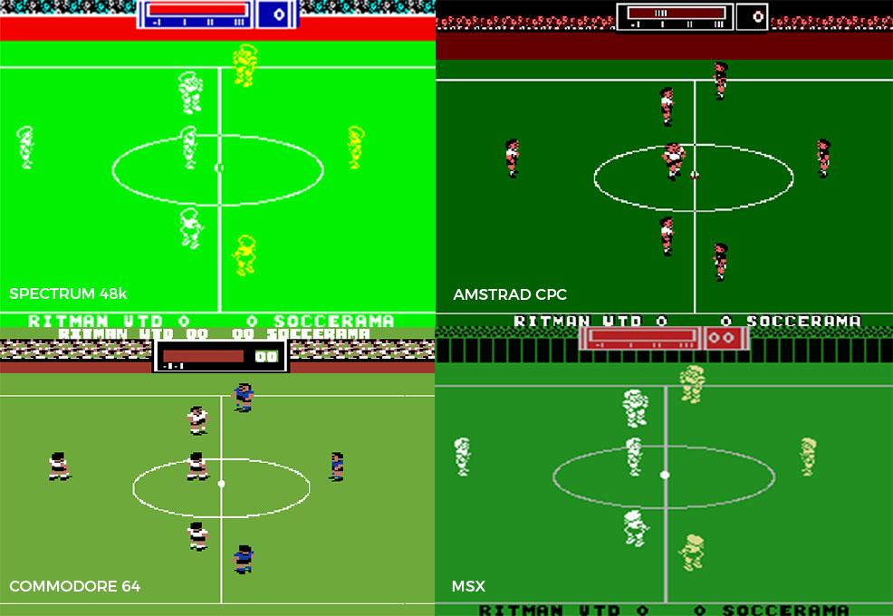 Match Day II en sus distintas versiones. Como puede comprobarse rápidamente, la del C64 era un prodigio en todo. Lo siento si tuvísteis que jugar en otros ordenadores. Je.